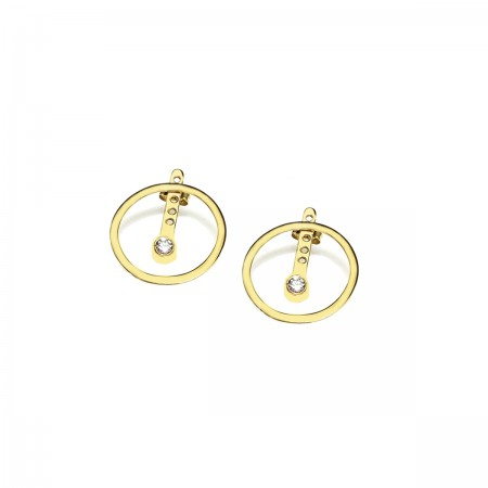 Earrings Round&Zirconia